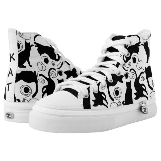 Playful Cats and Yarn Silhouettes Printed Shoes