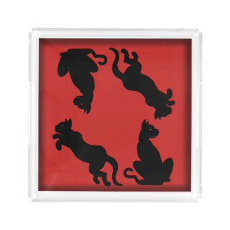 PLAYFUL CATS BLACK ON RED by Slipperywindow Acrylic Tray