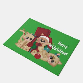 Playful Cats Christmas Holiday door mat