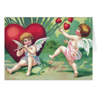 Playful Cupids Retro Cute Vintage Valentine Hearts Card