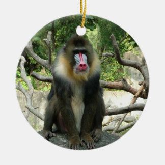 Playful, cute, smart and friendly baboons round ceramic decoration
