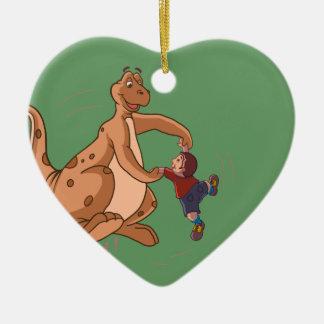Playful Dinosaur + Child art by Sushobhan Sengupta Christmas Ornament