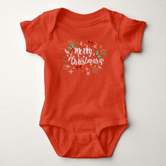 Playful Ditsy Merry Christmas Jersey Bodysuit