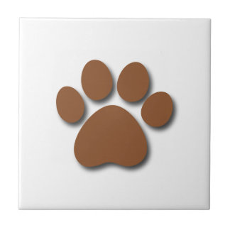 Playful Dog Paw Print for Dog Lover BROWN Small Square Tile