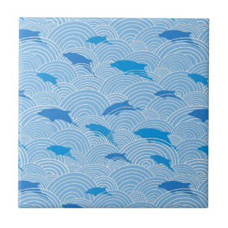 Playful dolphines pattern small square tile
