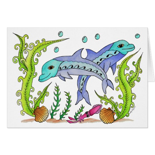 Playful Dolphins Card