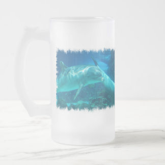Playful Dolphins Frosted Beer Mug