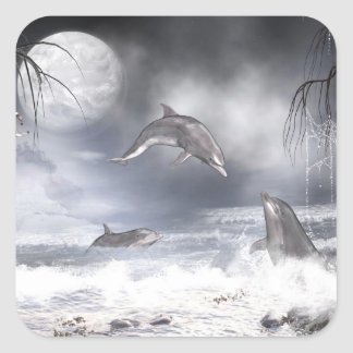 Playful dolphins square sticker