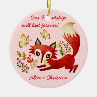 Playful Fox Ceramic Ornament