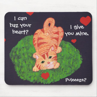 Playful Ginger Kitten Hearts Mouse Pad