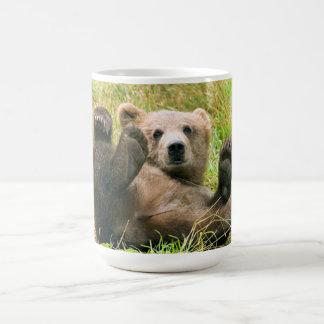 Playful Grizzly Bear Basic White Mug