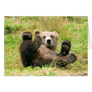 Playful Grizzly Bear Greeting Card