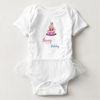 Playful Happy Birthday design with gorgeous cake Baby Bodysuit