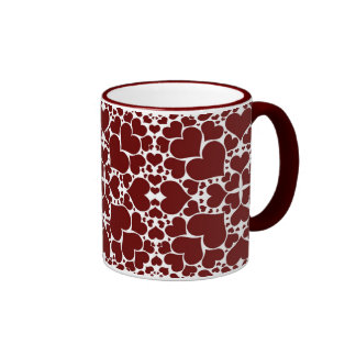 """Playful Hearts - White & Red"" Mug"
