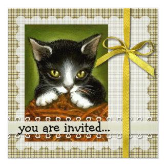 Playful kitten invitations