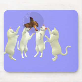Playful kittens and bubble birds adventure mousepad