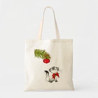 Playful Kitty Cat In A Red Christmas Bow Budget Tote Bag