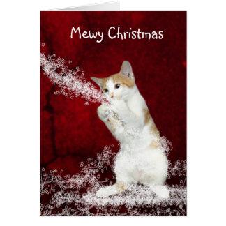 Playful kitty Christmas Greeting Cards