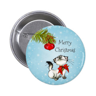 Playful Merry Christmas Kitty With A Red Bow 6 Cm Round Badge