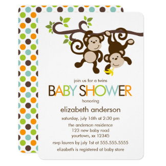Playful Monkeys Twins Baby Shower 13 Cm X 18 Cm Invitation Card