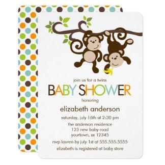 Playful Monkeys Twins Baby Shower 13 Cm X 18 Cm Invitation Card