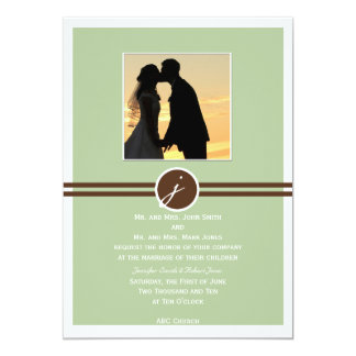 Playful Monogram in Sage Green and Brown 13 Cm X 18 Cm Invitation Card