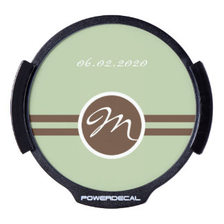 Playful Monogram in Sage Green and Brown LED Decal LED Auto Decal