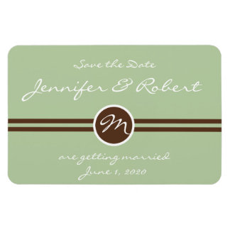 Playful Monogram in Sage Green and Brown Save the Magnet
