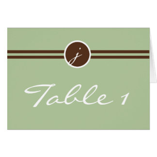 Playful Monogram in Sage Green Brown Table Number Card