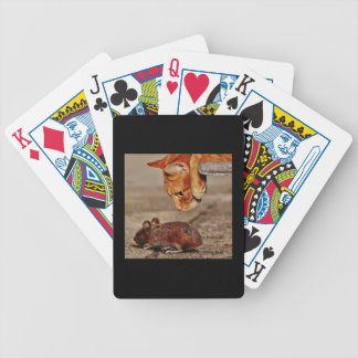 Playful Orange Tiger Cat with Mouse Bicycle Playing Cards