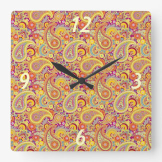 Playful Paisley Square Wall Clock