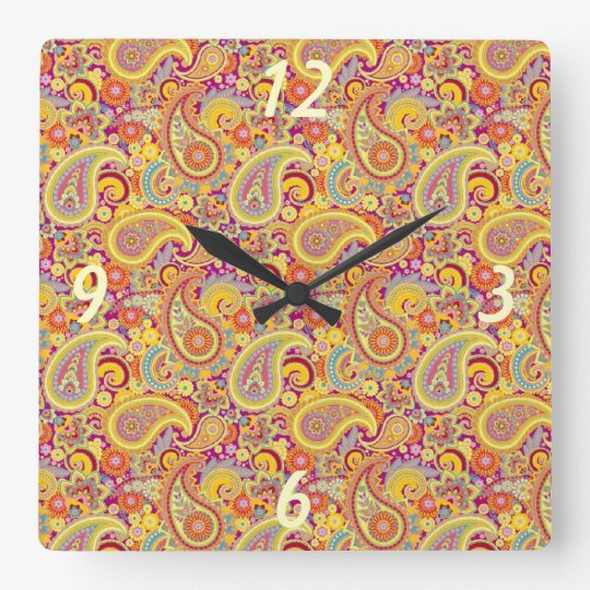 Playful Paisley Square Wall Clock