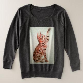 Playful pet, kitty playing plus size sweatshirt