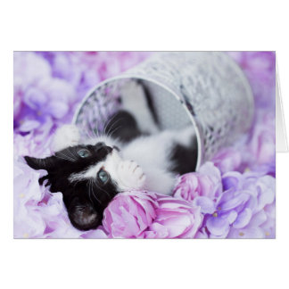 "Playful ""Pippa"" Purple Floral blank notecard"