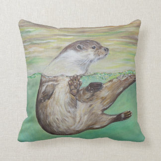 Playful River Otter Cushion