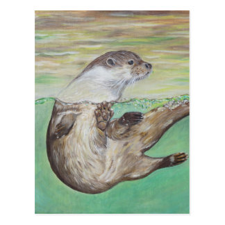 Playful River Otter Postcard