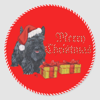 Playful Scottie Christmas Classic Round Sticker