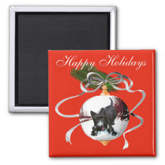 Playful Scottie Happy Holidays Square Magnet