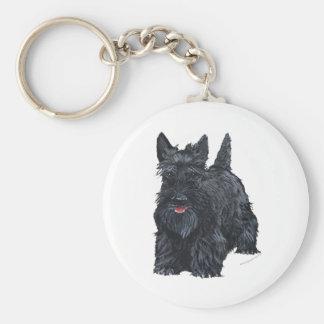 Playful Scottish Terrier Basic Round Button Key Ring
