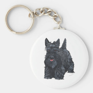 Playful Scottish Terrier Key Ring