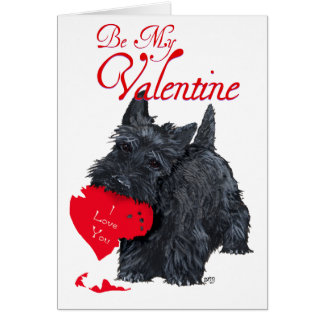 Playful Scottish Terrier Valentine Card
