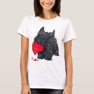 Playful Scottish Terrier Valentine T-Shirt