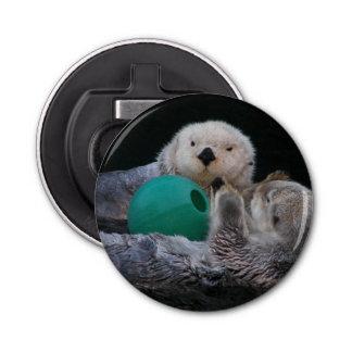 Playful Sea Otters Button Bottle Opener