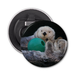 Playful Sea Otters Photo Bottle Opener