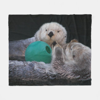 Playful Sea Otters Photo Fleece Blanket