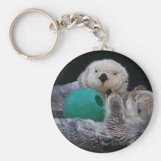 Playful Sea Otters Photo Key Ring