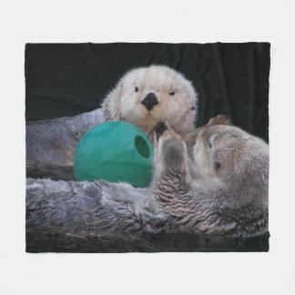 Playful Sea Otters Photo Medium Fleece Blanket