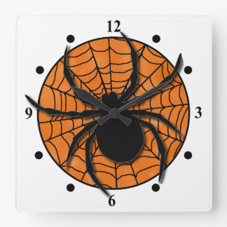 Playful Spider Web Huge Spider Square Wall Clock