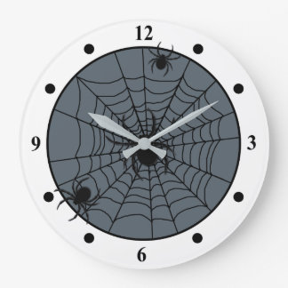 Playful Spider Web with Small Spiders Custom Color Large Clock
