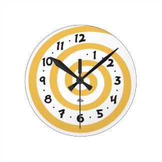 Playful Spiral Round Clock